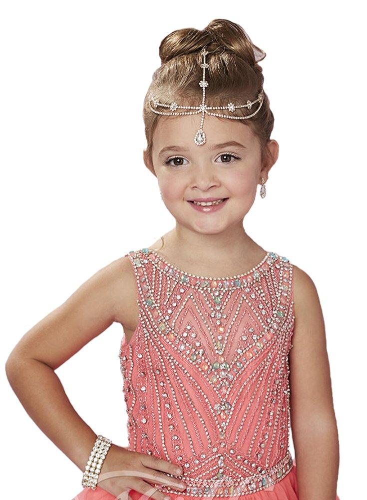 Y & trasera C las niñas Halter abierta Beads Ball Gown Layered parte ...