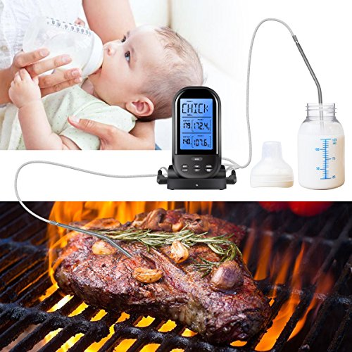AMIR Wireless Meat Thermometer, Barbecue Thermometer, Oven Thermometer, Digital Instant Read Thermometer with Waterproof Probe for Kitchen Cooking, BBQ, Poultry, Grill, Bowls, Foldable, Black by AMIR (Image #5)