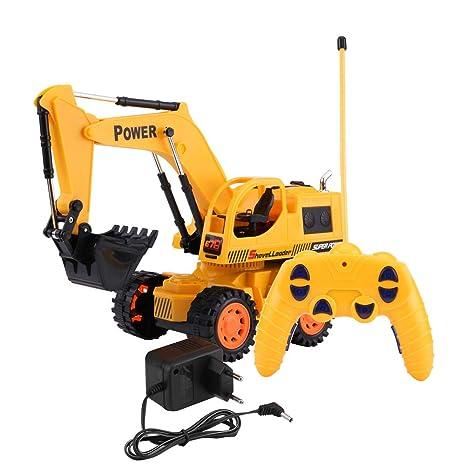 RC Excavador, Wireless RC Excavador Construcción Digger Control Remoto Eléctrico Juguete Camión Niños Coche(