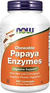 NOW Supplements, Papaya Enzyme with Mint and Chlorophyll, Digestive Support*, 360 Chewable Lozenges