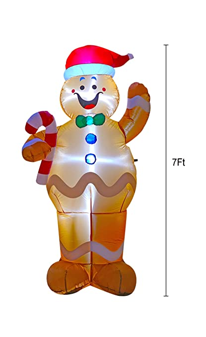 Bigjoys 7 Ft Inflatable Christmas Gingerbread Man Decoration Hold A Candy Stick Decoration For Indoors Outdoors Yad Home Garden Lawn