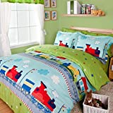 LeLv Fantastic Journey By Train Duvet Cover Set Green Boys Bedding Kids Bedding, Twin Full Size (Twin)