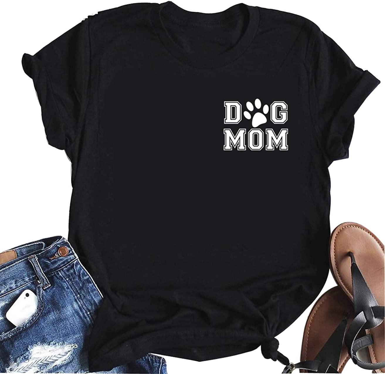 Women Dog Mom Shirts Cute Paw Short Sleeve Funny Pet Lover Party Gifts Tops Casual
