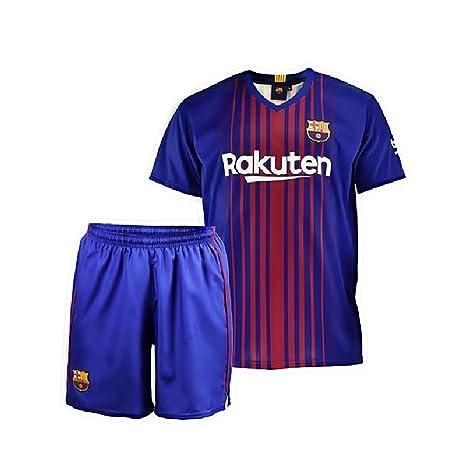 Conjunto - Kit 1ª Equipación Replica Oficial FC BARCELONA 2017-2018 Sin Dorsal LISO -