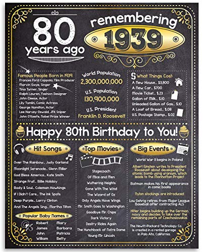 80th Birthday Poster - Remembering The Year 1939-11x14 Unframed Art Print - Makes a Perfect Birthday Decoration Under $15