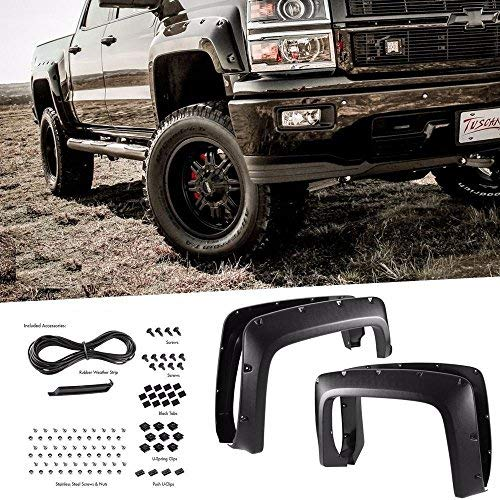 Yumy 4pcs [Textured] Fender Flares for 2014-2017 Chevy Silverado 1500 6'/8' Bed Pocket Riveted China