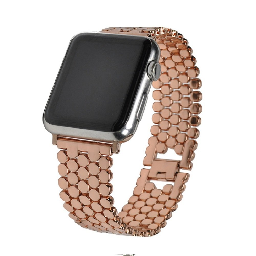 Juzzhou Watch Band For Apple iWatch Series 1/2/3 Sport Edition Replacement Stainless Steel Wriststrap Bracelet Wristband Wrist Strap With Metal Adapter Clasp For Woman Lady Girl Boy Rose Gold 38mm
