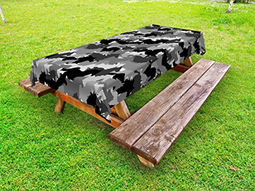 Lunarable Horse Outdoor Tablecloth, Herd of Skipping Horses Monochrome Silhouettes Western Wildlife Theme, Decorative Washable Picnic Table Cloth, 58 X 84 Inches, Grey Silver and Black (Furniture Outdoor Western)