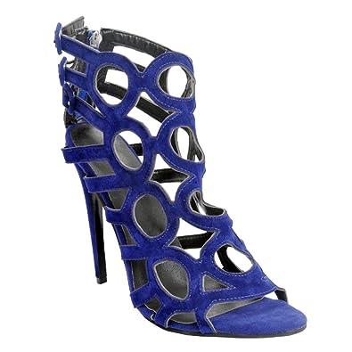 Kolnoo Damen Faschion 110mm hohle stilvolle Peep-toe Knöchelriemen Absatz Sandalen Schuhe Blue EU43 uP4gKAz