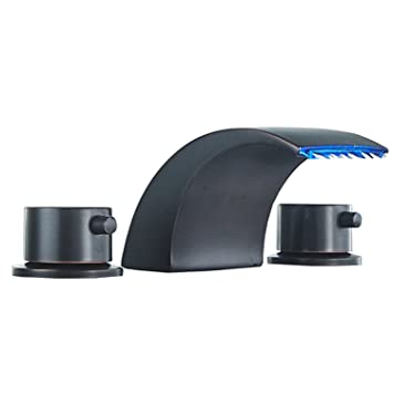 Homevacious Widespread Bathroom Sink Faucet Led Light Waterfall Oil