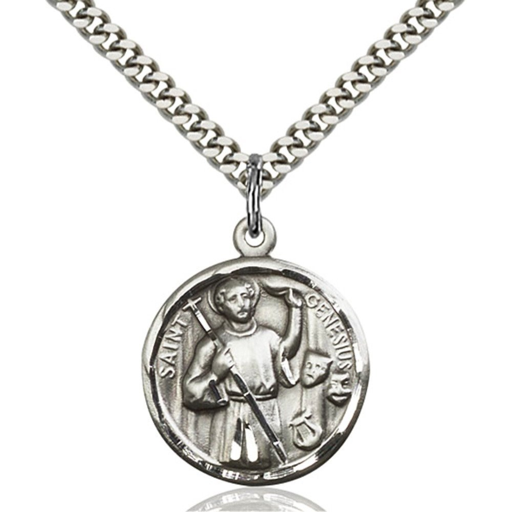Sterling Silver Men's GENESIUS Pendant - Includes 24 Inch Heavy Curb Chain - Deluxe Gift Box Included