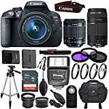 Canon EOS Rebel T5i 18 MP Digital SLR Camera Kit with EF-S 18-55mm f/3.5-5.6 IS STM Lens, EF 75-300mm f/4-5.6 III Telephoto & Sandisk 32GB Memory Card - Accessory Bundle (Certified Refurbished)