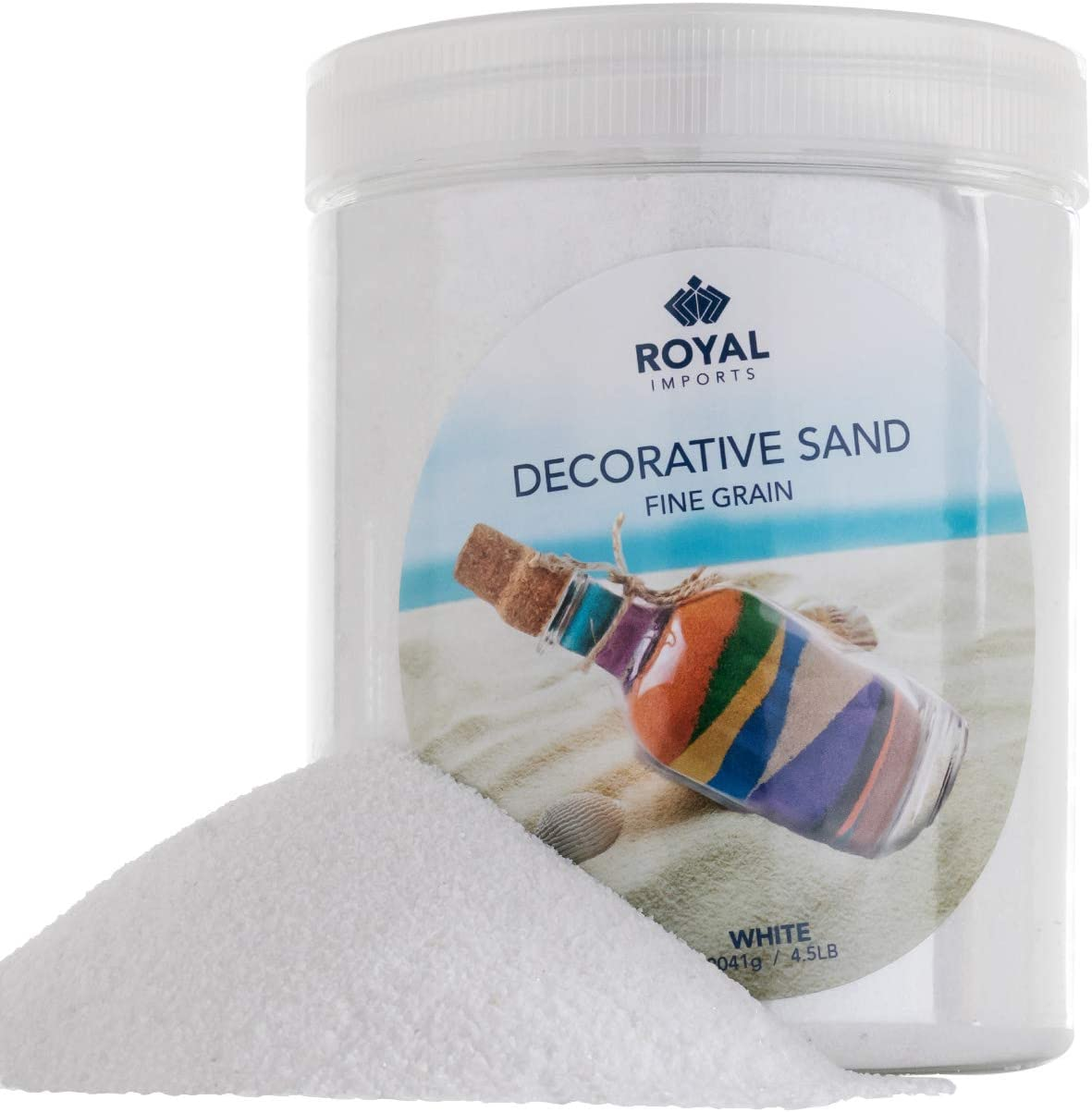 Royal Imports 4.5 LBS Colored Decorative Beach Sand for Vase Filler, Wedding, Home Décor, Crafts and Therapy Play, White
