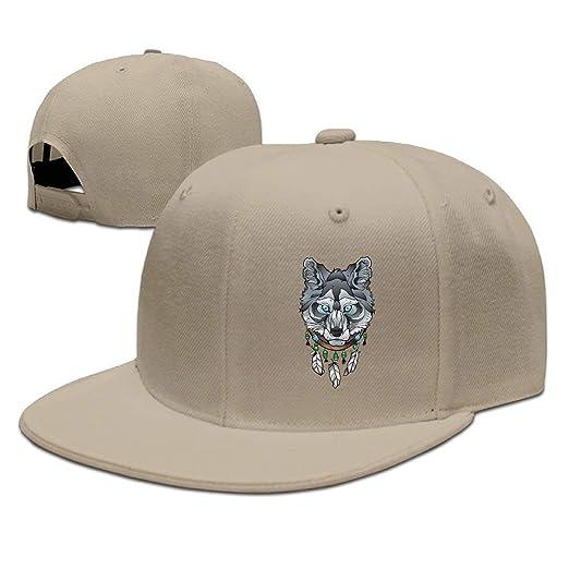fe1a1345e7ad7 Amazon.com  YALING Wolf with Dream Catcher Flat Visor Baseball Cap ...