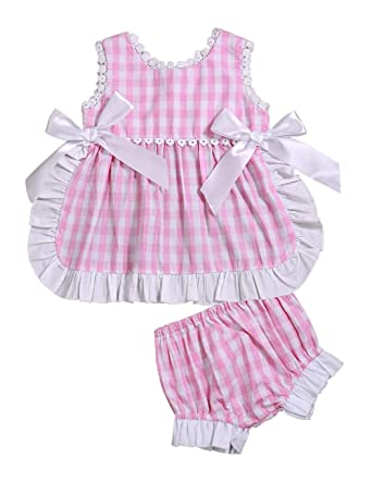 8363071538 Toddler Infant Baby Girl Summer Clothes Pink Plaid Pinafore Jumper Dress  with Bloomers Shorts Outfit Set