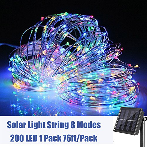 Woohaha Solar String Lights 200 Led Copper Wire Lights Waterproof Fairy Decoration Starry String Lights 8 Modes Indoor Outdoor For Gardens Patios Homes Parties Multi Color 1 Pack