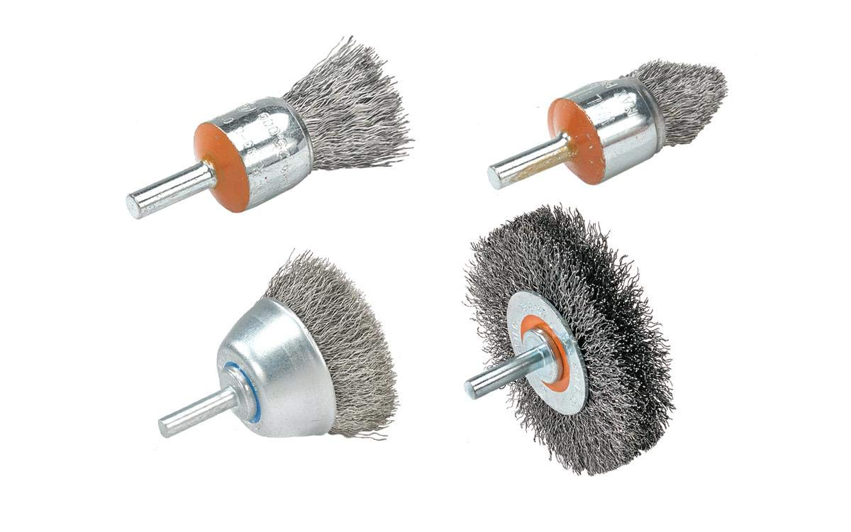 Stainless Steel Brush for Surface Cleaning 3//4 in Walter 13C058 Crimped Wire Mounted Brush Abrasive Finishing Brushes