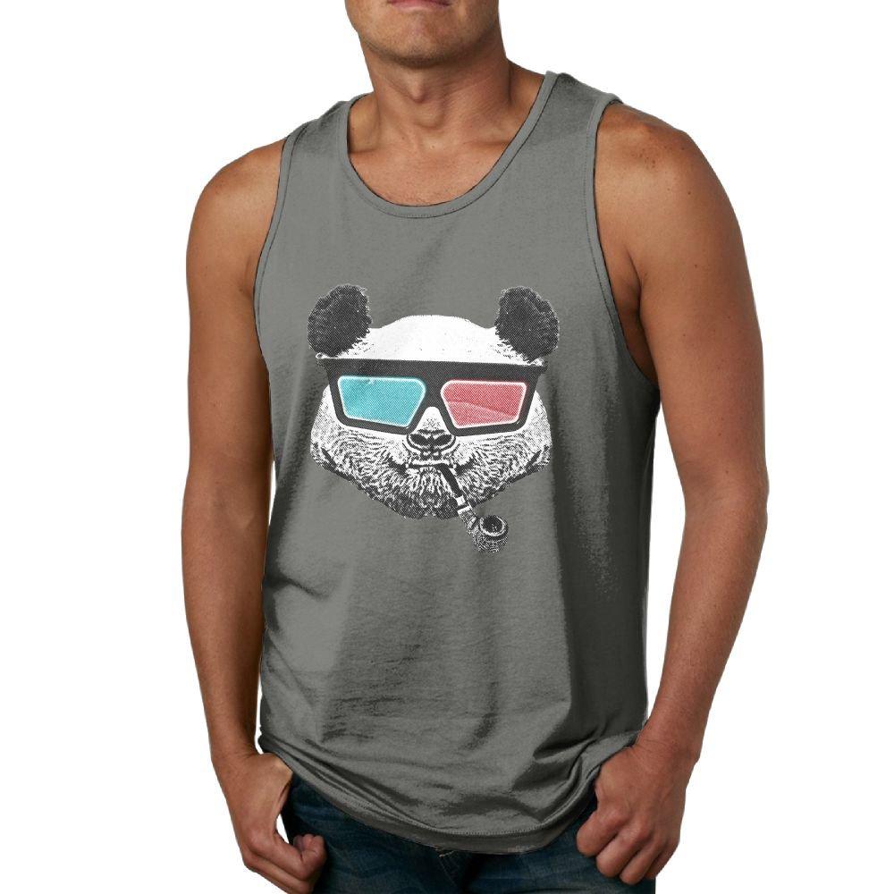 Newfood Ss Vintage Panda 3-D Glasses Mens 100/% Cotton Tank Top Tee DeepHeather