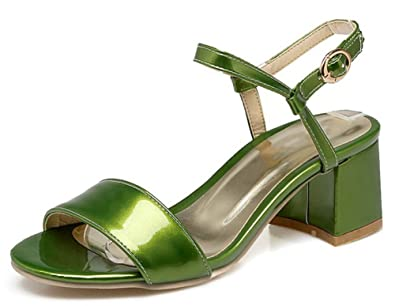 6f788328f96 IDIFU Women s Dressy Open Toe Buckle Mid Block Heels Sandals with Ankle  Strap (Green