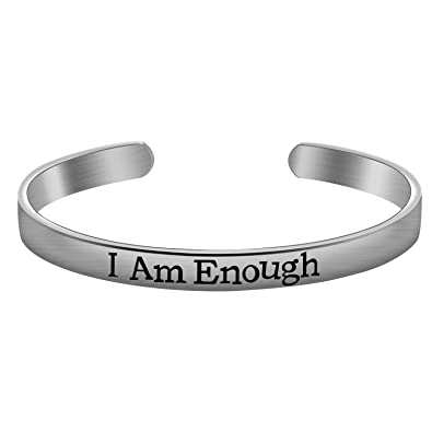 f9cf3e695ed6 Amazon.com  I Am Enough Cuff Bracelet Inspirational Bangle Custom Message  Positive Reminder Bangle Graduation Present Personalized Gift for Teen  Girls ...
