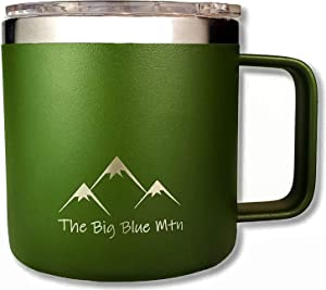 THE BIG BLUE MTN 14 oz Camp Mug Travel Tumbler Cup with Powder Coated Double Walled Vacuum Insulated Stainless Steel including Lid and Handle for Coffee Wine Water Tea Hot Cold Beverage Forest Green