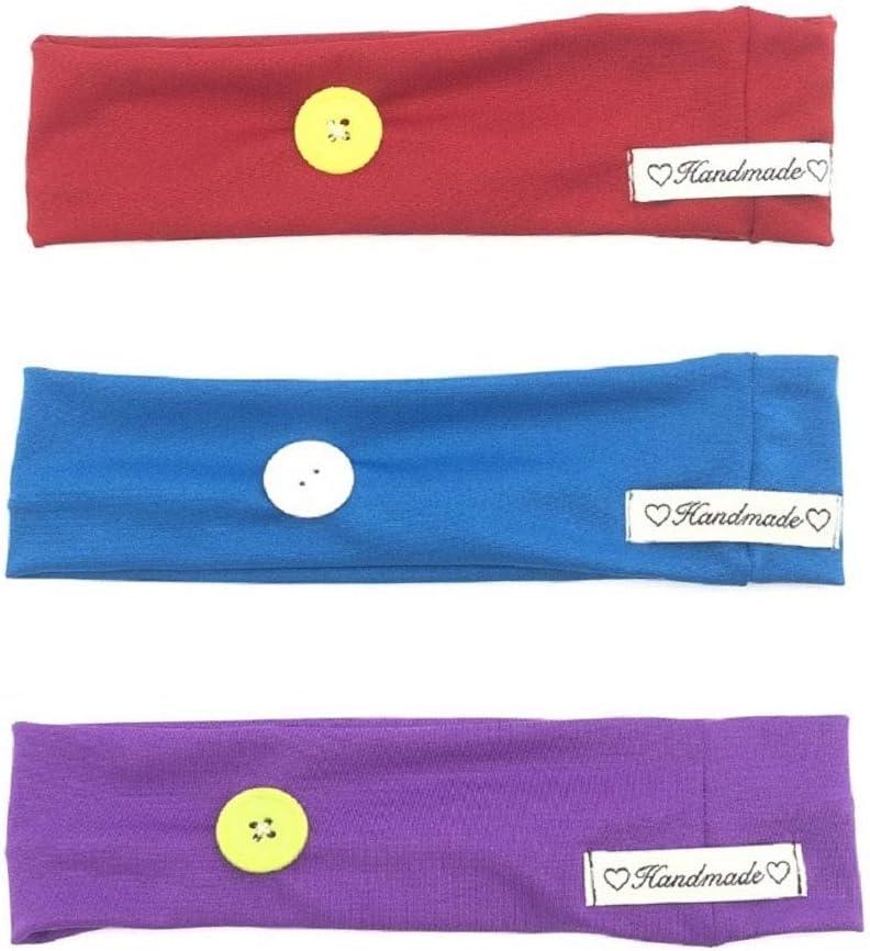 Huachi diademas para enfermeras con botón turbante para proteger los oídos, médicos, yoga, entrenamiento, accesorios para el cabello, color sólido, 3 unidades