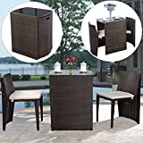 UBRTools 3 PCS Cushioned Outdoor Wicker Patio Set Garden Lawn Sofa Furniture Seat Brown