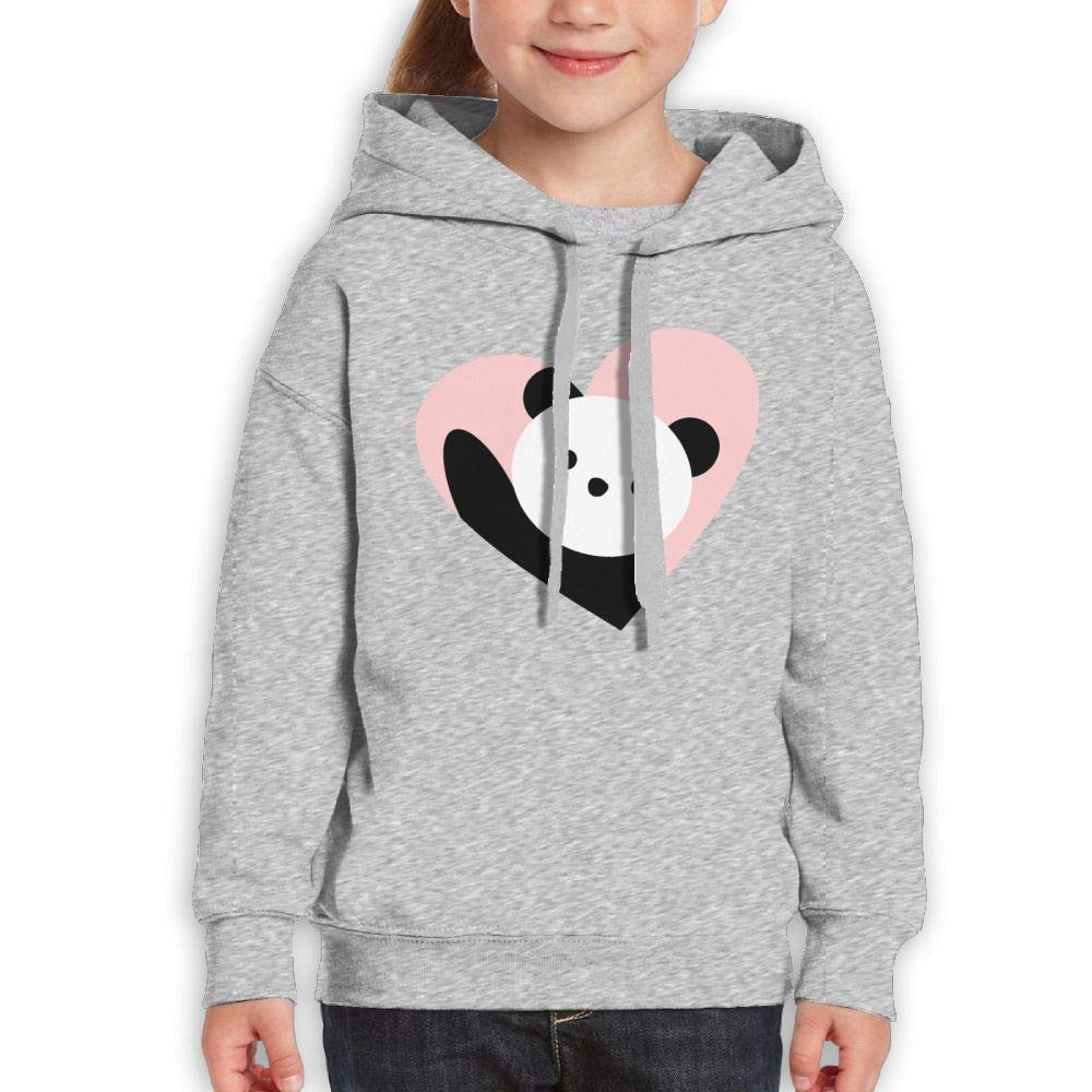 Qiop Nee Kawaii Panda and Pink Heart Unisex Hooded Long Sleeve Sweatshirts for Girls'