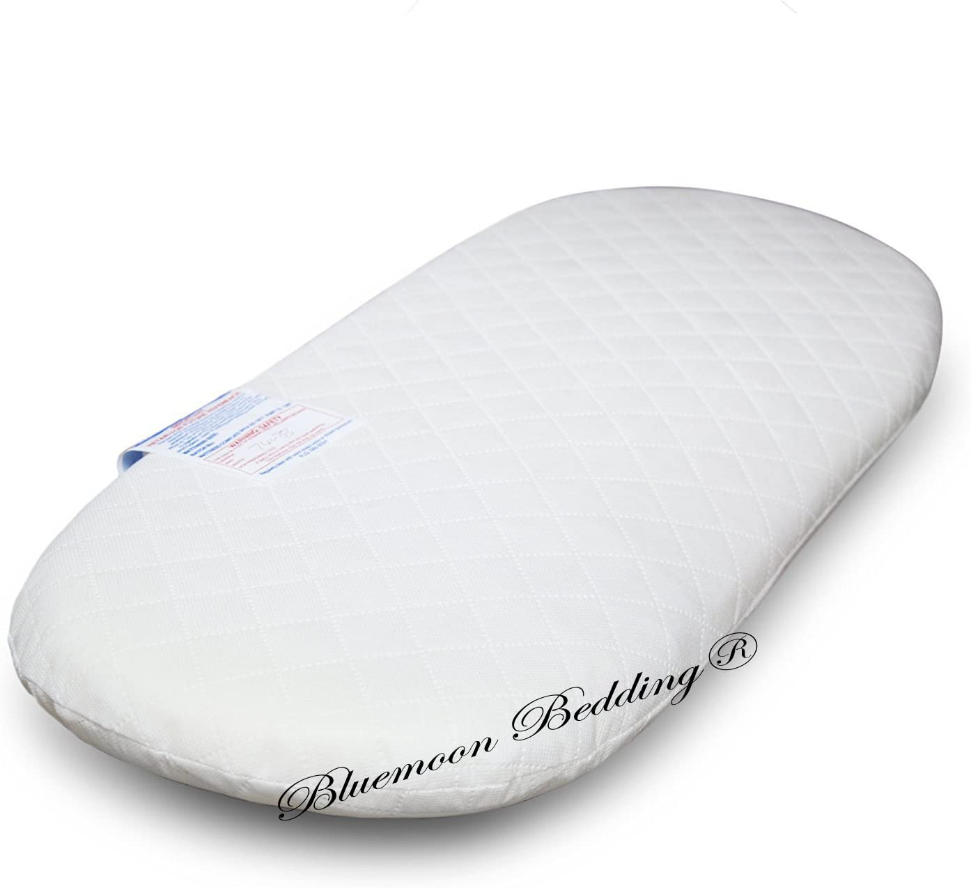 Moses Basket Foam Mattress Bassinet Baby PRAM Oval Fully Breathable Quilted Size 70 X 35 X 3.5 cm
