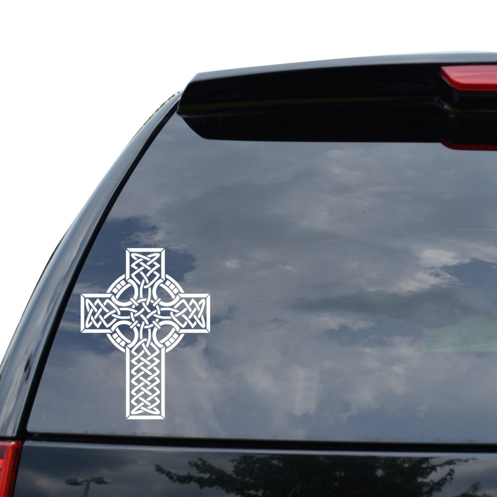 Amazon com christian celtic cross decal sticker car truck motorcycle window ipad laptop wall decor size 05 inch 13 cm tall color gloss white