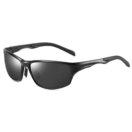 0e8169a9e2 Polarized Sunglasses Sport Wrap Al-Mg Metal Frame for Driving Fishing Golf  64mm(Black