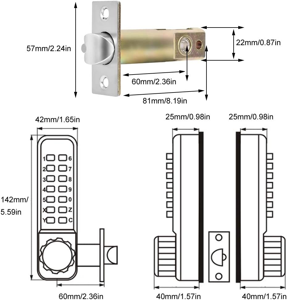 Mechanisches schl/üsselloses T/ürschloss mit Beidseitigem Zahlenschloss.Passwort-Sicherheitsschloss f/ür den Innen und Au/ßenbereich