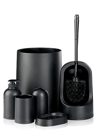 black monochrome bin toilet brush 7 piece matching home bathroom accessories set