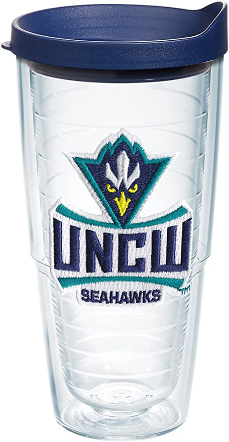 Clear Tervis 1229532 UNC Wilmington Seahawks College Pride Tumbler with Wrap and Navy Lid 24oz