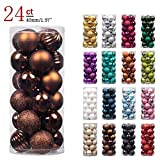 """KI Store 24ct Christmas Ball Ornaments Shatterproof Christmas Decorations Tree Balls SMALL for Holiday Wedding Party Decoration, Tree Ornaments Hooks included 1.57"""" (40mm Brown)"""