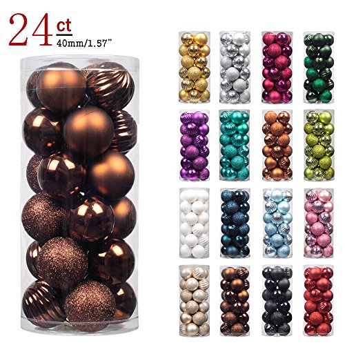 "KI Store 24ct Christmas Ball Ornaments Shatterproof Christmas Decorations Tree Balls SMALL for Holiday Wedding Party Decoration, Tree Ornaments Hooks included 1.57"" (40mm Brown)"
