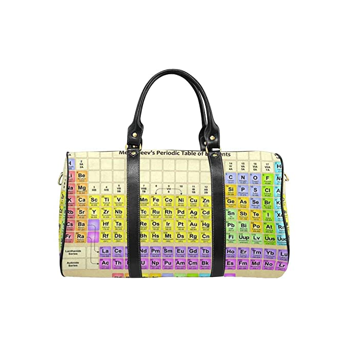 InterestPrint Waterproof Travel Bag Sports Duffel Tote Overnight Bag Periodic Table of Elements