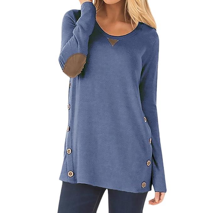 T Shirt Damen Langarm Rundhals Stitching Patches mit Knöpfen Basic Classic  Kleidung Elegant Festlich Young Fashion 1c3e5d51a9