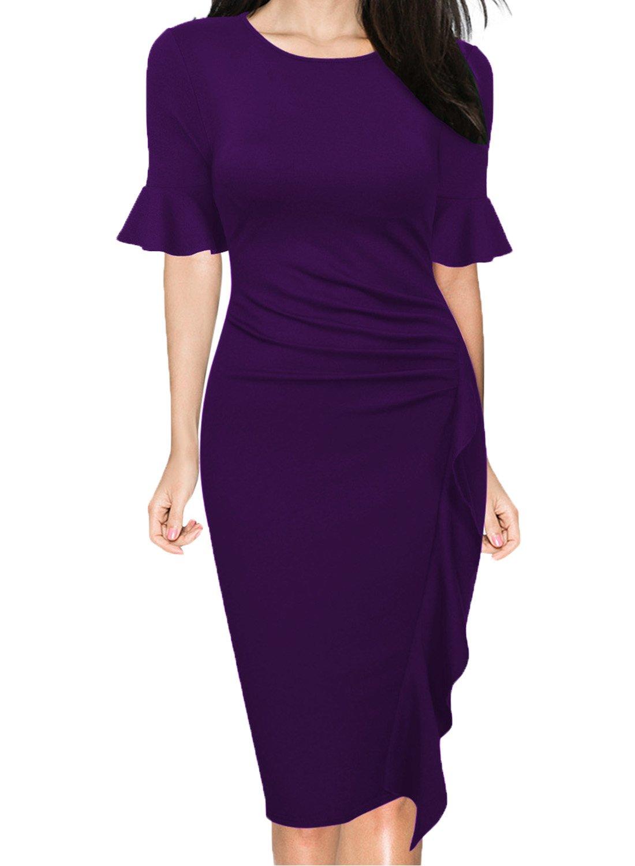 WOOSUNZE Women's Business Retro Ruffles Bell Sleeve Slim Cocktail Pencil Dress (Purple, Large)