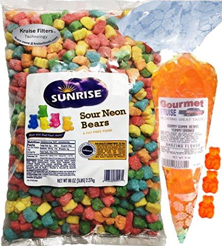 Sour Gummy Bears Sunrise Neon 5LB Bag With Energy Orange Gummy Bears Gourmet Kruise Signature Gift Bag 11 OZ (NET WT 5 LBS.11OZ) 2 Item Bundle