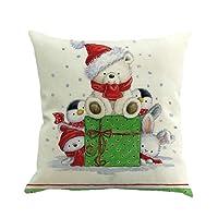 99native Série de bonhomme de neige de Noël,Coton Doux en Lin Couvre-Lit Taie d'oreiller Canap¨¦ Voiture Housse de Coussin Home Decor Lit 45 cm x 45 cm