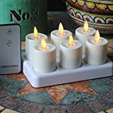 Set of 6 Moving Wick Flameless Rechargeable Tea Light LED Candle with Timer and Remote Control