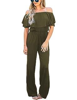69972a46f767 LookbookStore Women Off Shoulder High Waist Long Wide Leg Pants Jumpsuit  Romper
