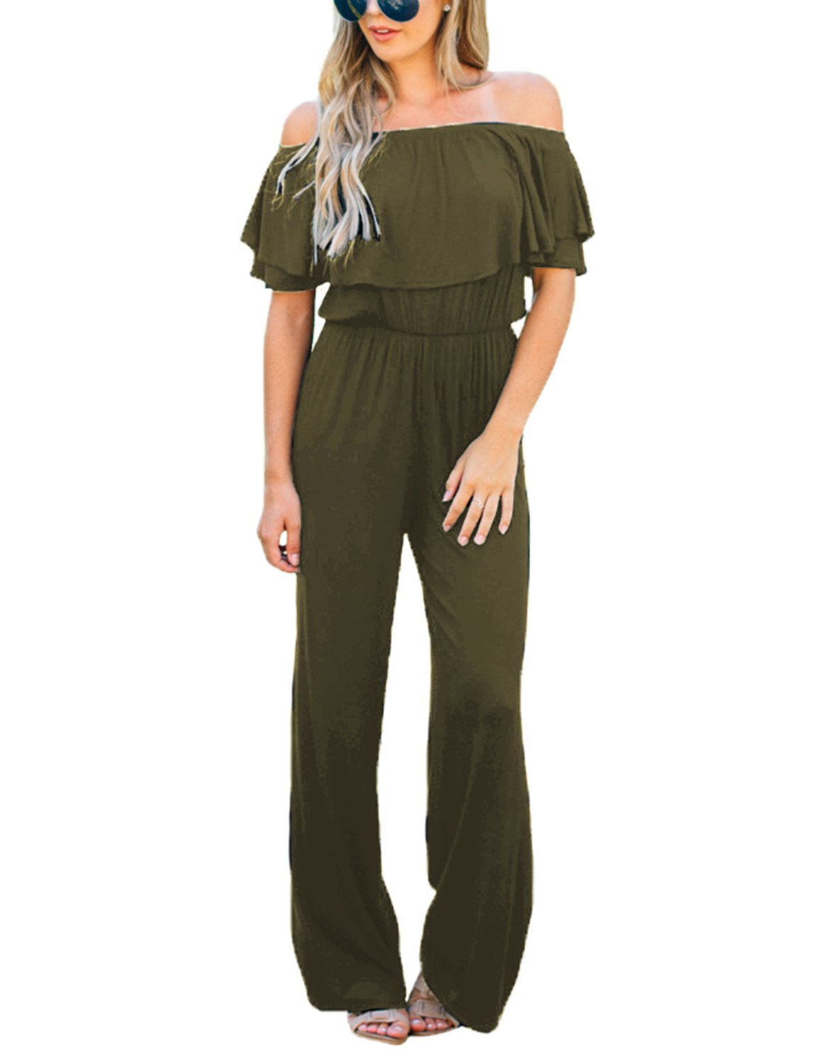 Lookbook Store Women's Sexy Off Shoulder High Waisted Ruffled Long Wide Leg Pants Army Green Jumpsuits Rompers Size L