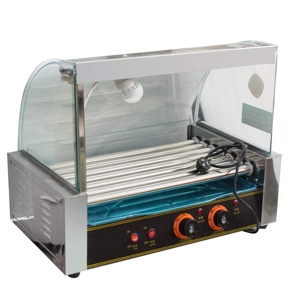 Commercial 18 Hot Dog Hotdog 7 Roller Grill Cooker Machine With Cover 1050W by zorvo (Image #3)