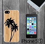 Palm Trees on Wood Custom made Case/Cover/skin FOR iPhone 5/5s -White - Rubber Case ( Ship From CA)