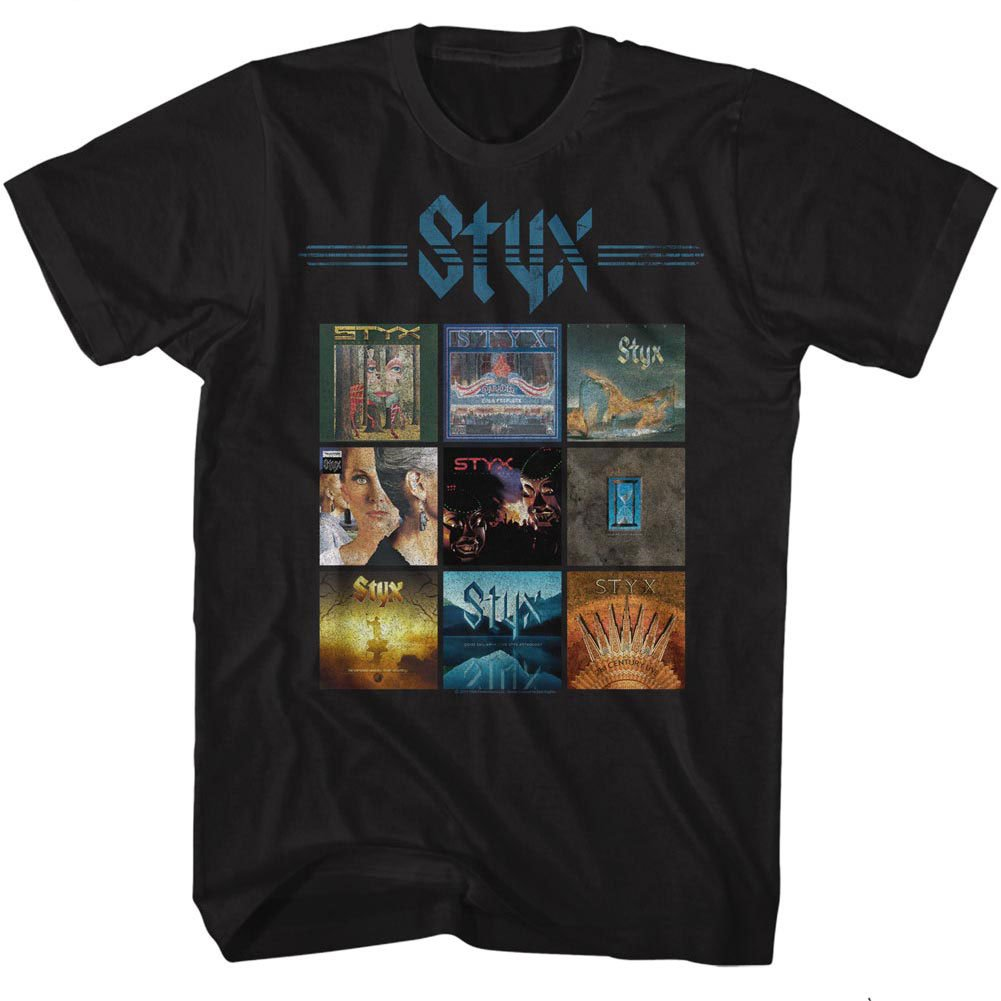 American Classics Styx Album Grid Small Cotton T-Shirt Black Adult Men's Women's Short Sleeve T-Shirt