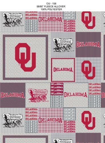 (Oklahoma Sooners Patches on Polyester Fleece Fabric, Crimson & Cream - Sold By the Yard)
