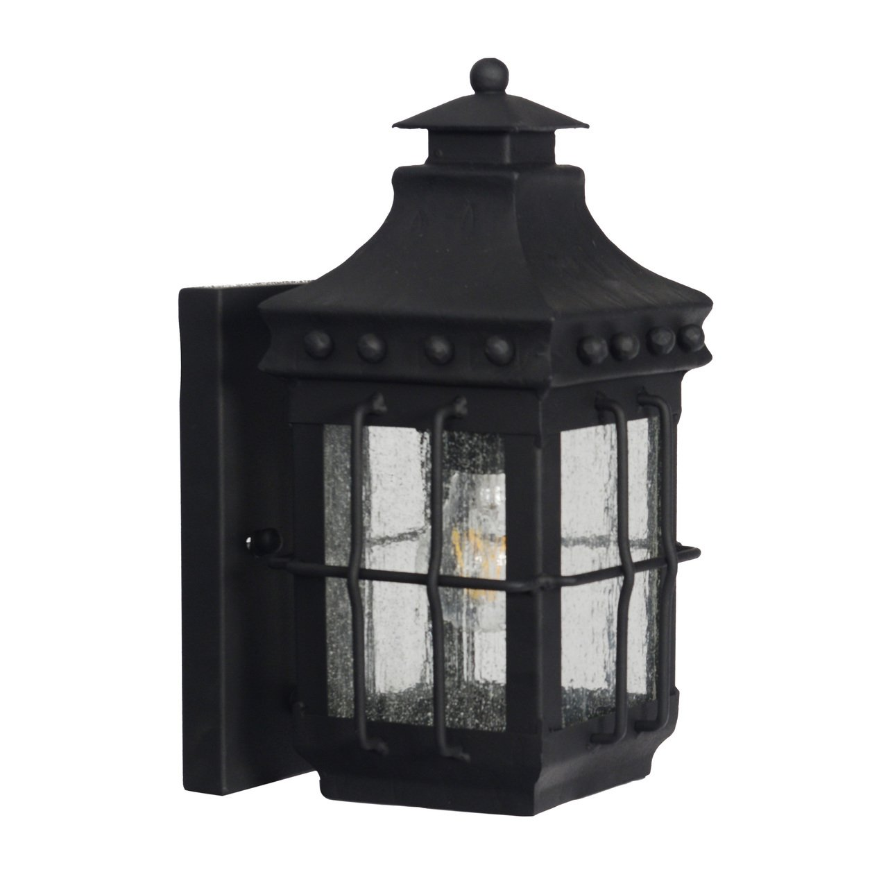 Cocoweb Bray Outdoor Wall Lantern | LED Light Bulb Included | Clear Seeded Glass Black Finish