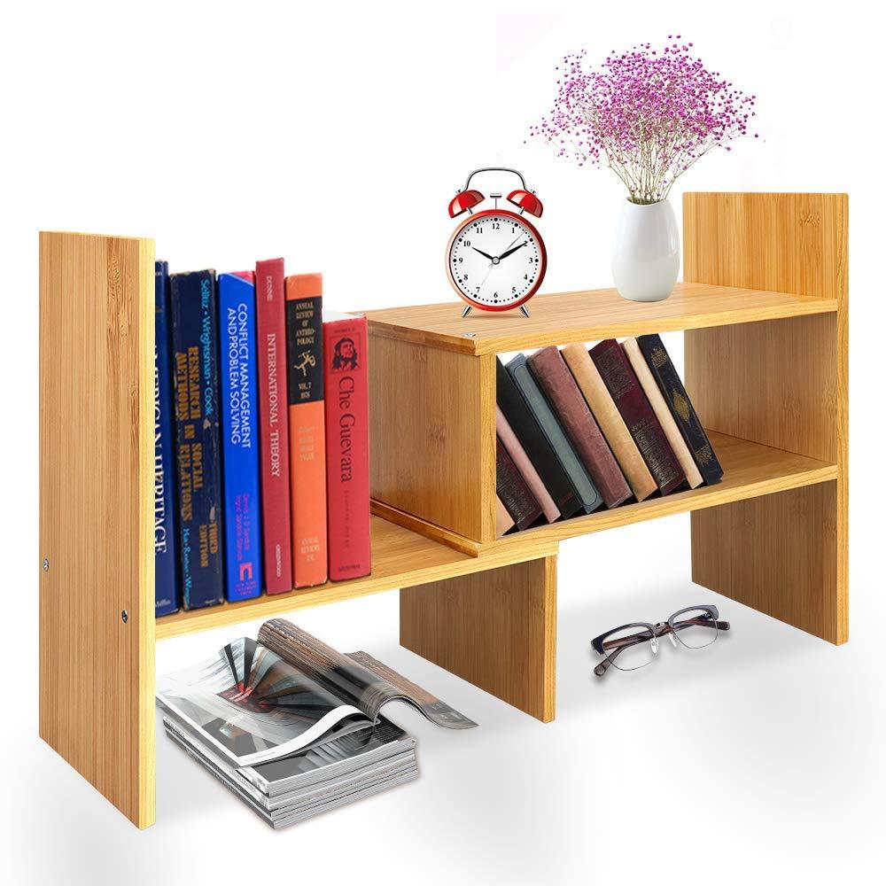 Desktop Bookshelf Adjustable Wood Display Shelf Countertop Bookcase Office Supplies Desk Organizer Accessories - Natural Bamboo Stand Shelf by Zicheng